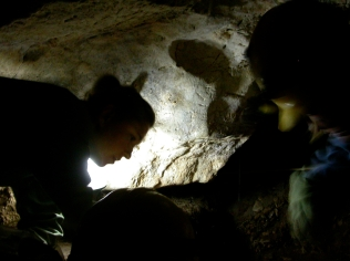 Jessica excavating the Samwell Cave Popcorn Dome deposit